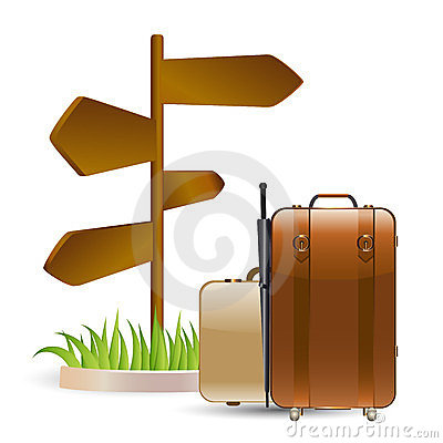 Luggage and wooden sign