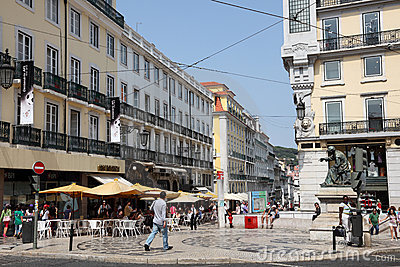 Luis de Camoes square in Lisbon Editorial Stock Photo