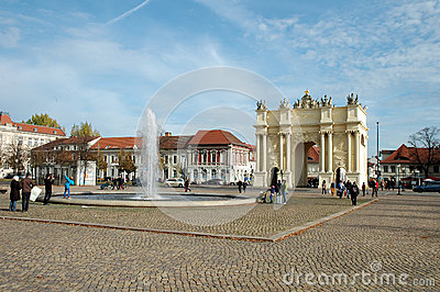 Luisenplatz and Brandenburg Gate in Potsdam Editorial Photography