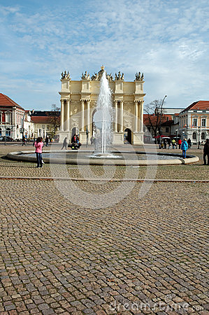Luisenplatz and Brandenburg Gate in Potsdam Editorial Image