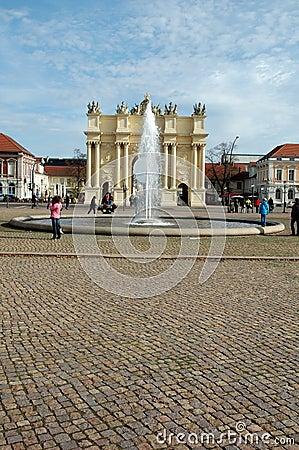 Luisenplatz and Brandenburg Gate in Potsdam Editorial Image