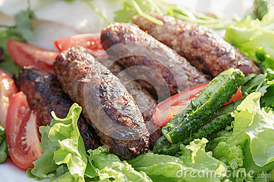 Lula kebab from lamb with vegetables