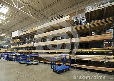 Lumber interior warehouse