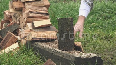 lumberjack chopping firewood with axe stock footage video 64794478