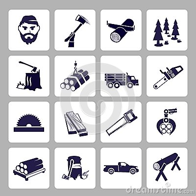 Free Lumberjack Icon Set Royalty Free Stock Photography - 40959227