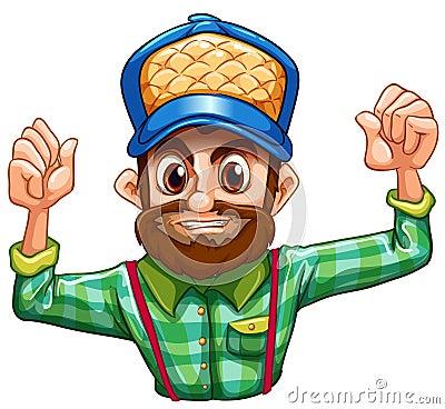 A lumberjack wearing a checkered longsleeve