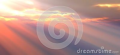 Lumière du soleil par les nuages