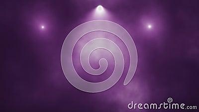 Lumières d'étape et fond pourpres de mouvement de boucle de la fumée VJ banque de vidéos
