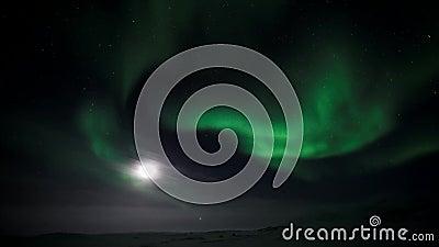 Lumières du nord avec la lune banque de vidéos