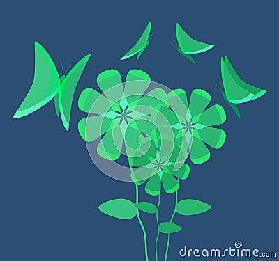 Luminous Flowers Attracting Butterflies