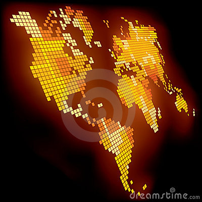 Free Luminous World Map Royalty Free Stock Image - 6617966