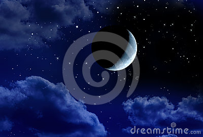 Luna crescent en cielo