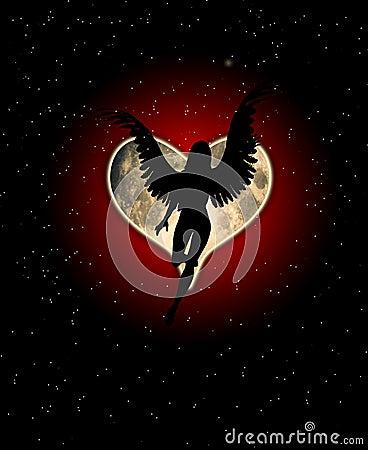 Luna del corazón del ángel