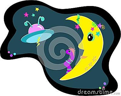 Luna, UFO, y gusano extranjero