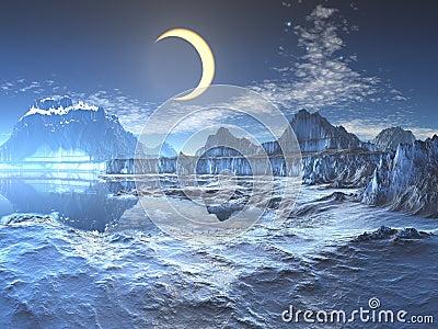 Lunar Eclipse over Frozen Planet