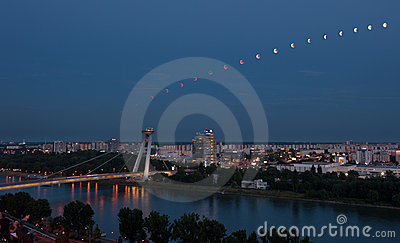 Lunar eclipse sequence in Bratislava, Slovakia Editorial Image