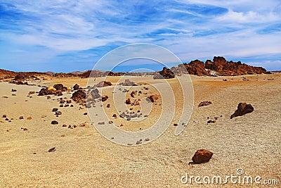 Lunar landscape at volcano Teide in Tenerife island - Canary