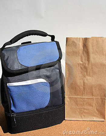 Lunch bags on desk