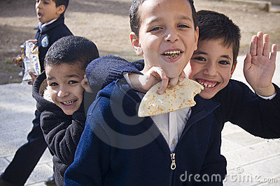 Lunch break at Muslim school on the Temple Mount Editorial Stock Photo