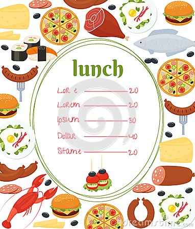 lunch roster template - lunch menu template stock vector image 43191846