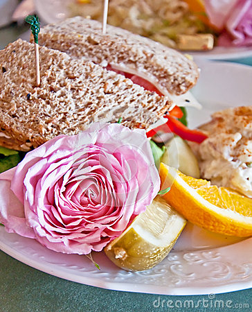 Lunch Sandwich with Pink Rose Garnish