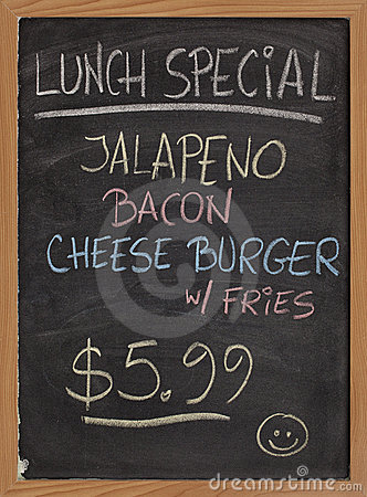 Lunch special menu sign