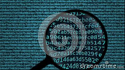 A lupa descobre o cyber das palavras que espia no tela de computador Animação conceptual da busca relativa à segurança ilustração royalty free