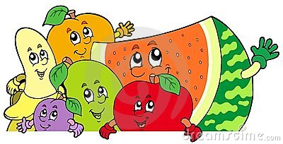 Lurking cartoon fruits