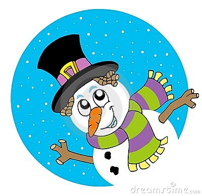 Lurking cartoon snowman