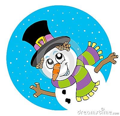 Lurking cartoon snowman