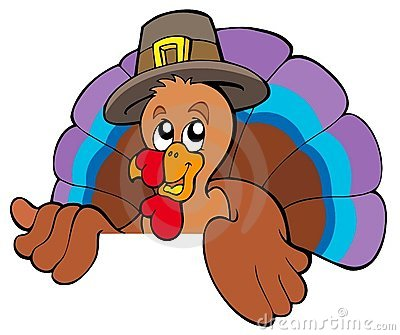 Lurking cartoon turkey in hat