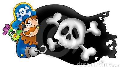 Lurking pirate with banner