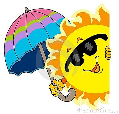Lurking Sun with umbrella
