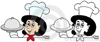 Lurking woman chef with meal