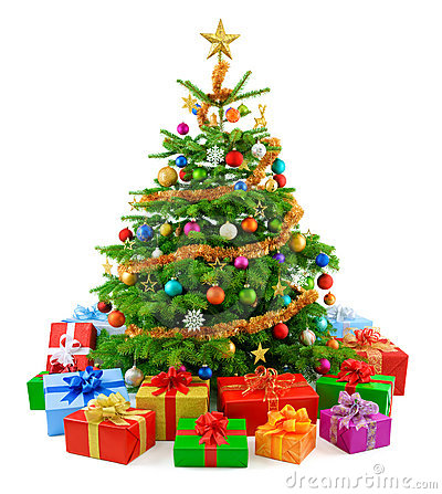 Lush Christmas tree with colorful gift boxes
