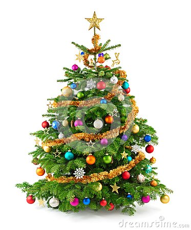 Free Lush Christmas Tree With Colorful Ornaments Stock Photography - 34686722