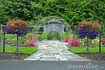 Lush spring garden entrance