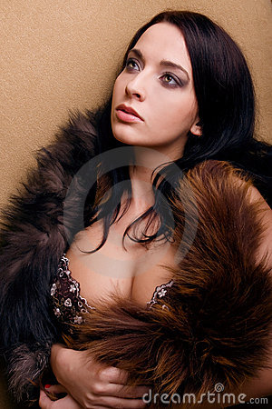 Lust attractive glamor girl with boa