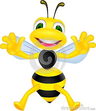 Lustige Bienenkarikatur