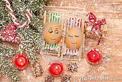 lustige eier weihnachten mandarine geschenk und kerzen stockfoto bild 48060098. Black Bedroom Furniture Sets. Home Design Ideas