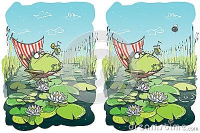 Lustige frosch unterschied sichtspiel für kinder illustration ist im