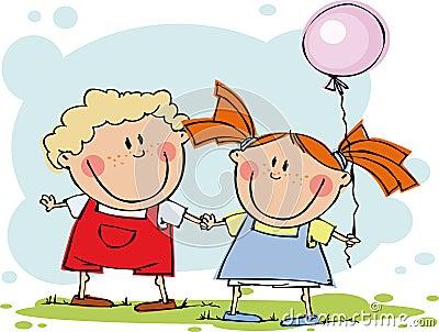 Lustige Kinder mit Ballon
