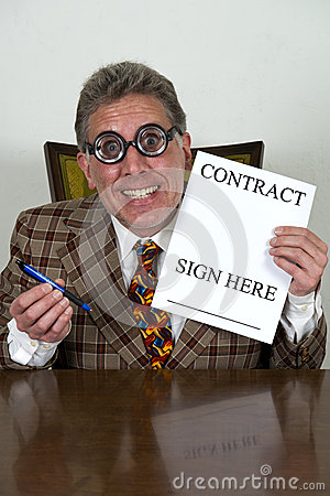 Lustiger benutztes Auto-Verkäufer oder gekrümmter Banker, Rechtsanwalt