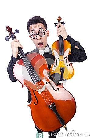 Lustiger Mann mit Violine