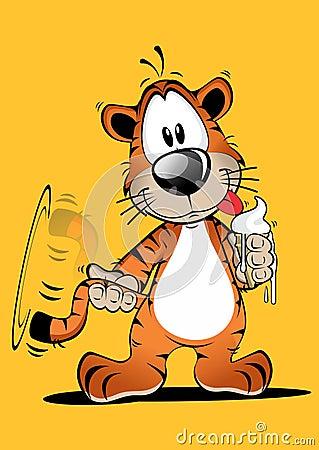 Lustiger tiger cartoon mit eiscreme bild vektor lizenzfreies stockbild