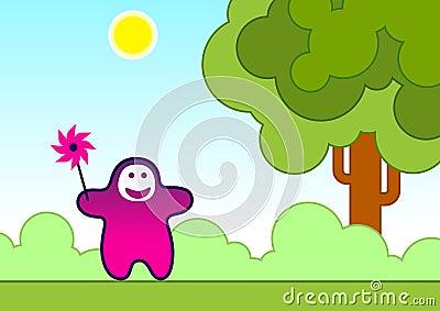 Lustiges Kind mit einem Windspielzeug