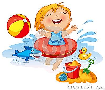 Lustiges Schwimmen Des Kleinen Mädchens In Einem Meer ...