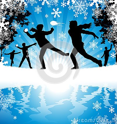 Luta da bola de neve do inverno