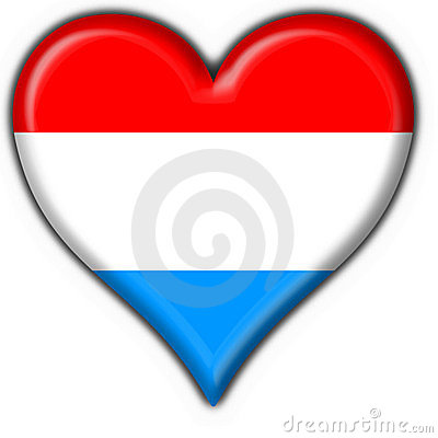 Luxembourg button flag heart shape