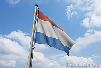 Luxembourg Flag with Clouds